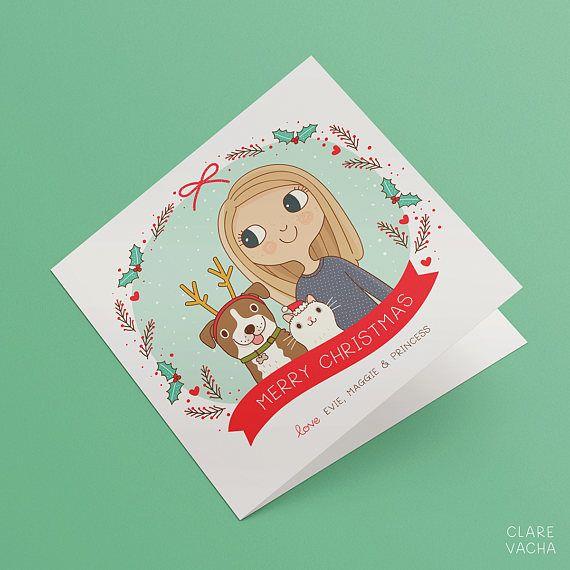 Custom Christmas Card    Family Portrait Illustration   5x7