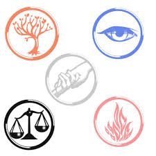 Divergent Faction Symbols these can be printed and cut out to put on anything including balloons! Choose Gray balloons (Abnegation), Dark Blue balloons (Erudite), Yellow & Red (amity), Black & White (Candor), black balloons (dauntless) and some double stick tape.