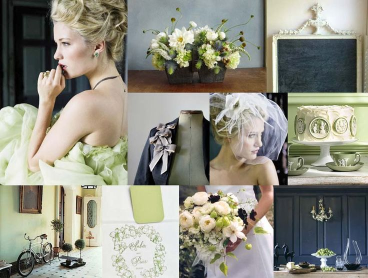 wedding color scheme.  Green, off white, gray, and blue