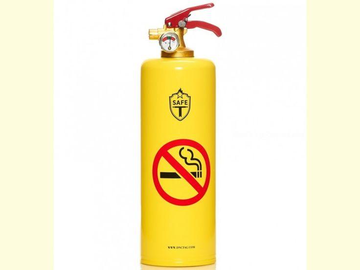Fantástico Extintor decorado modelo PROHIBIDO FUMAR con fondo amarillo. Ideal para tener en casa o en el coche (garantía de 5 años). El contenido del extintor es de 1 kg. de polvo ABC. Fabricado bajo normativa europea.