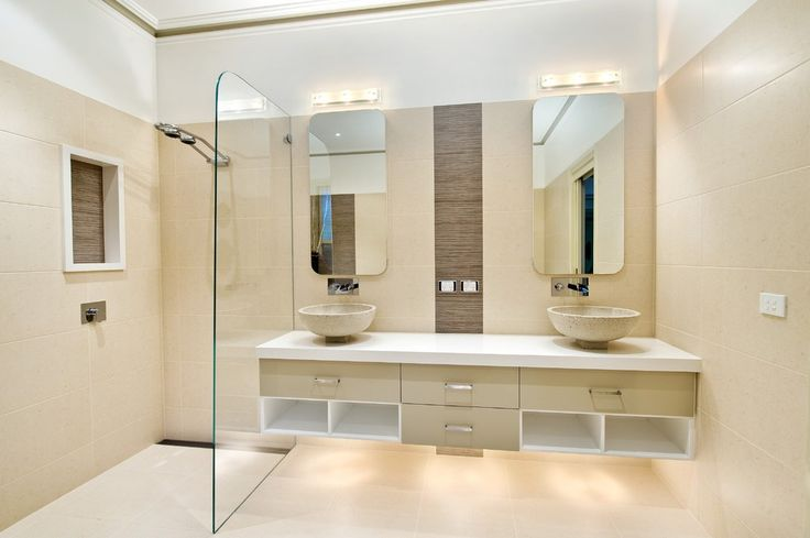 Floating Bathroom Sink Contemporary with High End Stainless Steel Showerheads and Body Sprays