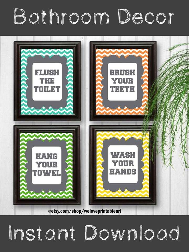 Kids Bathroom Rules Decor:  You will receive all FOUR printable (you print yourself) bathroom rules art signs featuring orange, yellow, green and aqua chevron. These will look amazing for your new bathroom decor!  https://www.etsy.com/listing/187743306/chevron-bathroom-rules-kids-bathroom?ref=shop_home_active_15