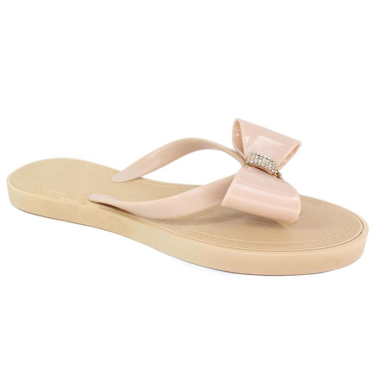 Danice Jelly Jeweled Bow Thong Flip Flop Sandals Beige/Grey ** You can find out more details at the link of the image.