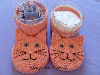 Meu jardim de crochê: Potes porta-cotonetes e algodão, gatos em crochê