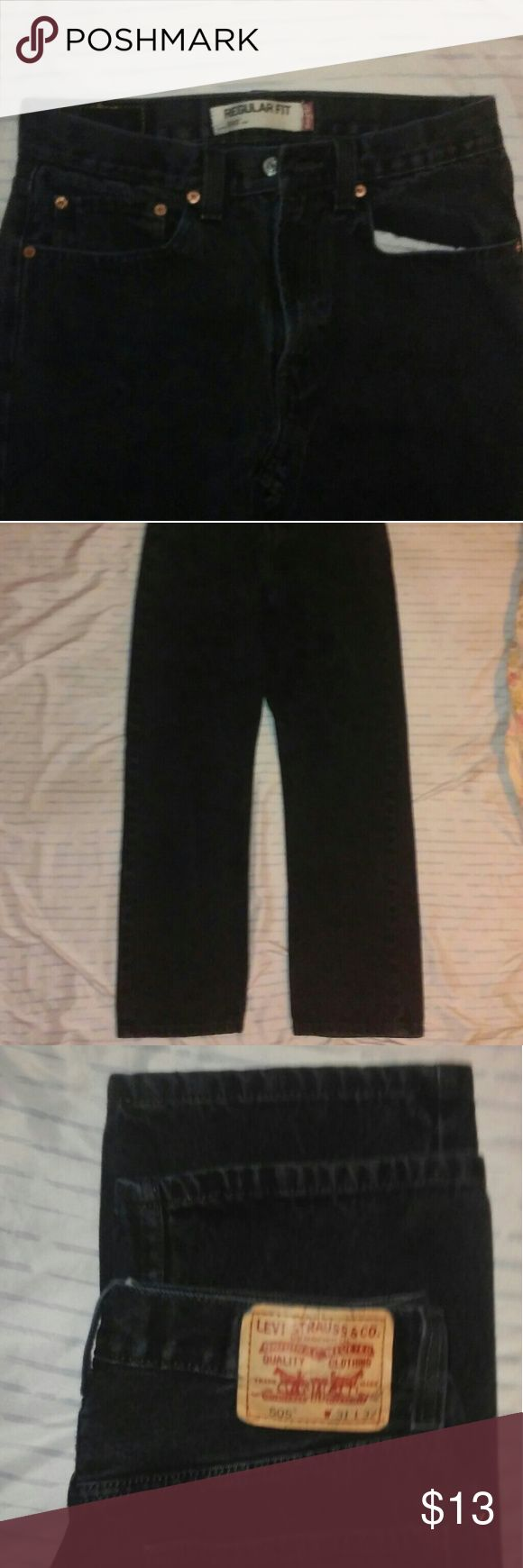 Levi's 505 Regular Fit Size 31 Black Jeans! The length is 32. They are in good condition. Pictures show. Cheap priced. Levi's Jeans Straight