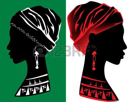 belo design da cabeça da mulher africano - silhueta de perfil fino photo
