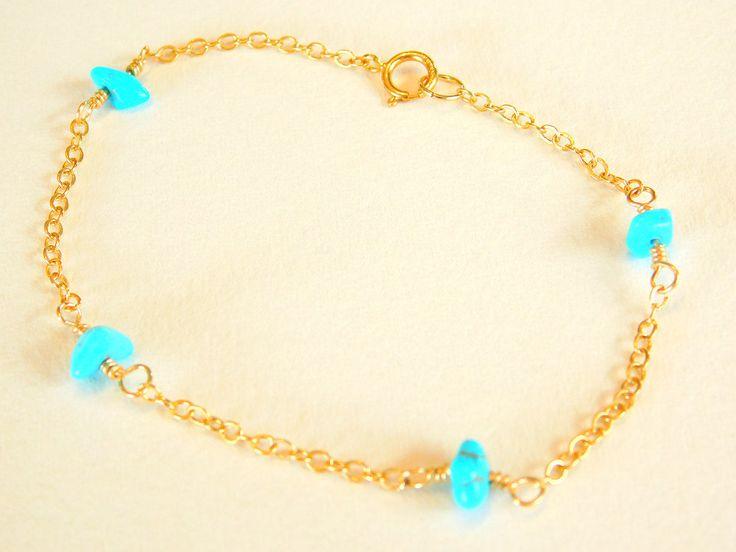 Delicate Turquoise Bracelet, Layering Bracelet, dainty layering bracelet, Minimal Jewellery by jljewellerydesign on Etsy
