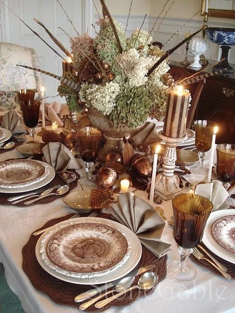 Thanksgiving Table Setting. Looks like the bottom plate here is my Mikasa Italian Countryside.