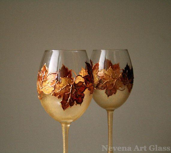 CUSTOM ORDER for Ashley , Hand Painted Wine Glasses, Autumn Leaves on Etsy, £33.95