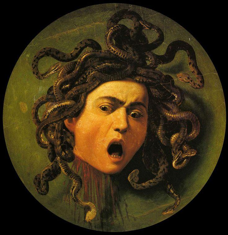 """Le Caravage, """"Tête de Méduse"""",1597. Méduse est une créature issue de la mythologie grecque, et ayant la capacité de changer les gens en statue de pierre, rien qu'en les regardant..."""