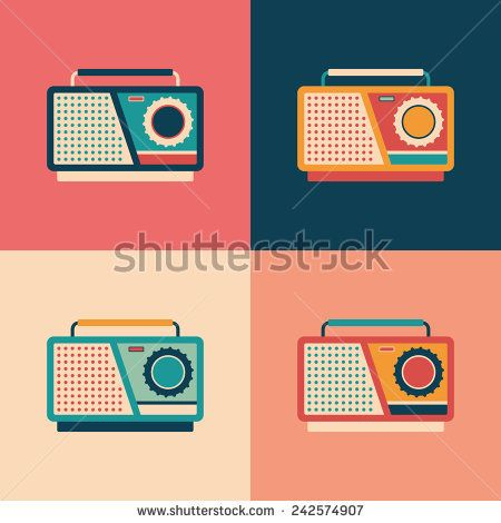Colorful set of retro tape recorders. #retro #retroicons #flaticons #vectoricons #flatdesign