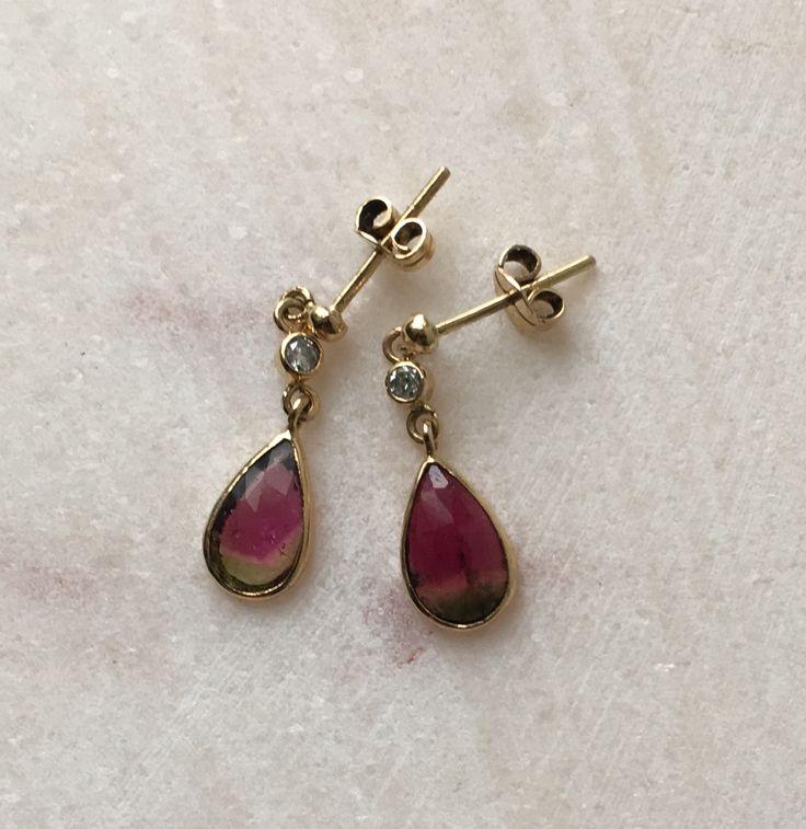 Watermelon tourmalines, diamonds and 18 CT gold earrings
