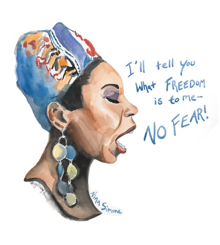 Nina Simone, portrait and inspiring quote