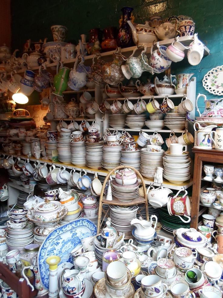 Antique porcelain shop at Camden Passage, Islington London N1