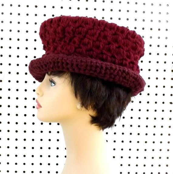 Aubergine Crochet Hat Womens Hat Womens Crochet Hat Aubergine Hat Trilby Hat ANDY Womens Fedora Hat Strawberry Couture by strawberrycouture by #strawberrycouture on #Etsy