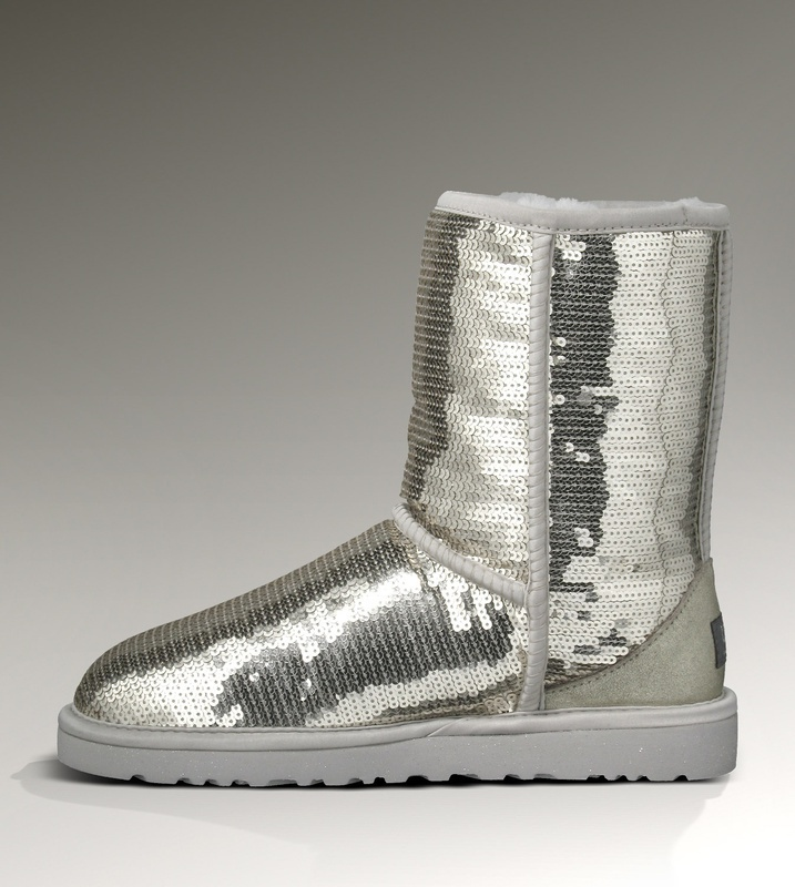 Uggs Cheap Classic Short Sparkles 3161 Boots Silver $98.00