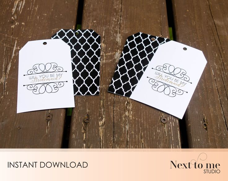 INSTANT DOWNLOAD - Will you be my bridesmaid? Tags - Wine tags - Gift tags _ wedding_ Gift _ Back pattern _ SKU: BMB_12 by NextToMeStudio on Etsy