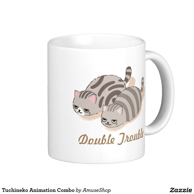 Tuchineko Animation Combo Classic White Coffee Mug cat. Regalos, Gifts. Producto disponible en tienda Zazzle. Tazón, desayuno, té, café. Product available in Zazzle store. Bowl, breakfast, tea, coffee. #taza #mug