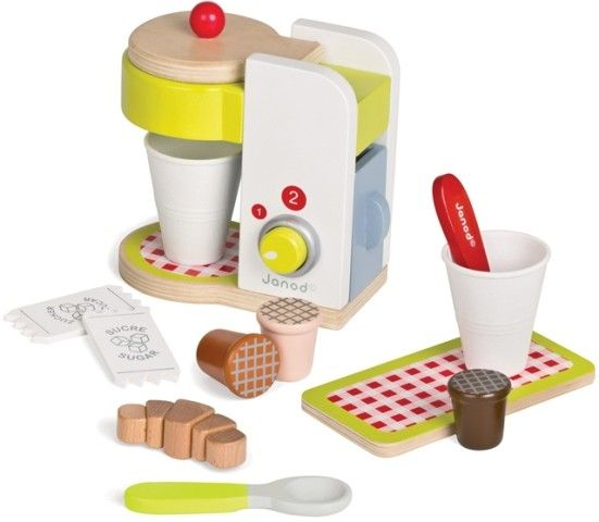 This wooden Espresso Machine from Janod's Picnik range features a lifting lid where the cute coffee pods are inserted, a slide-out compartment for pretend water, and a rotating dial to select how many coffees your friends need #Janod #kitchentoys #Christmastoys