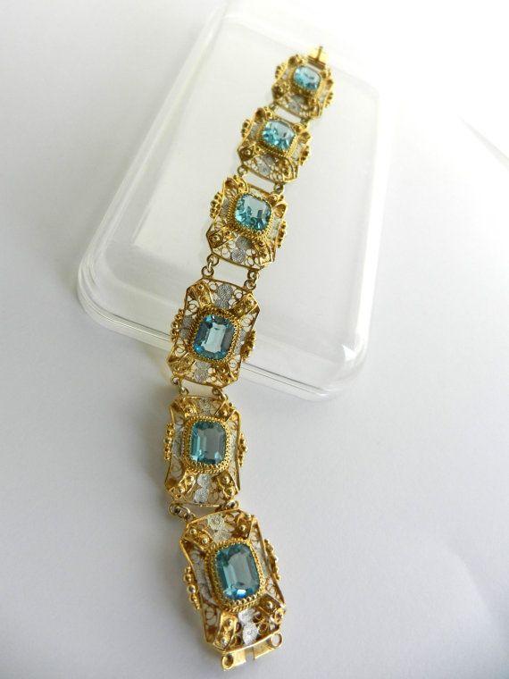 Shining 6 panels filigree Italian Deco Bracelet by RAKcreations