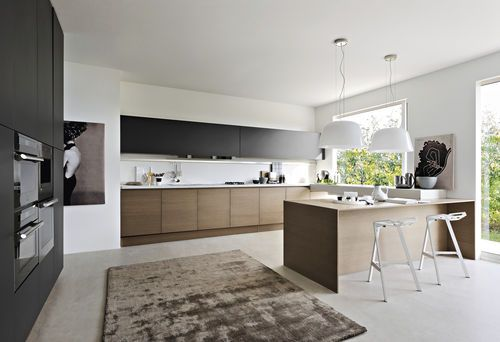 contemporary wood veneer / lacquer kitchen INTEGRA Pedini
