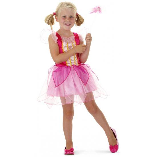 Kort roze prinsessen jurkje voor meisjes. Dit roze prinsessen jurkje met tule rokje voor meisjes wordt geleverd inclusief toverstafje.