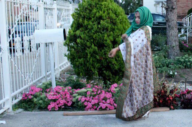 White and green saree hijab