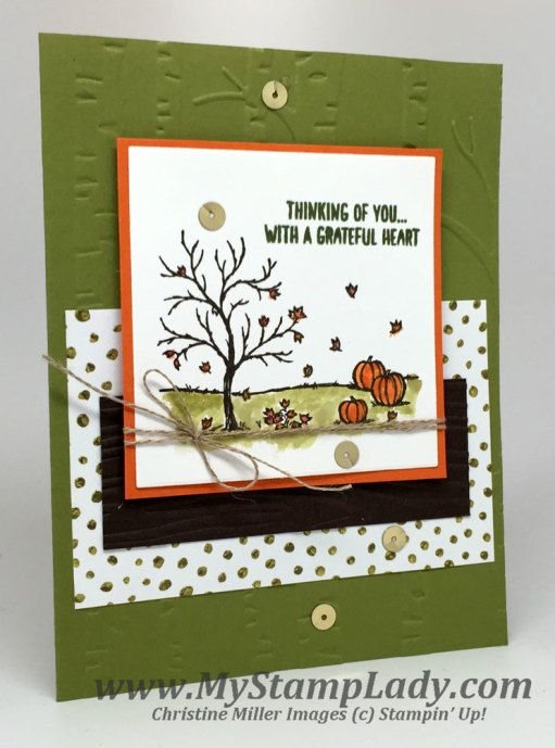 Stampin' Up! Happy Scenes handmade fall card. www.mystamplady.com