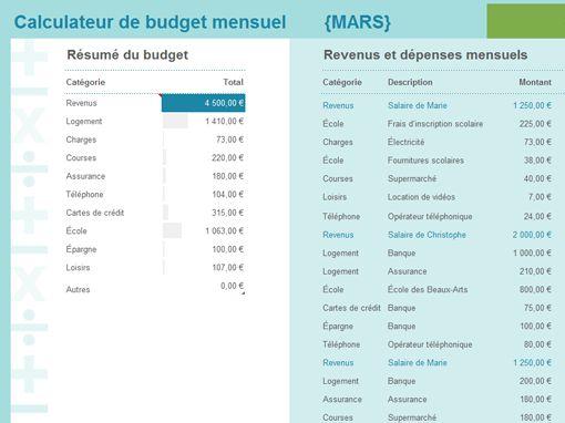 Calculateur de budget mensuel                                                                                                                                                                                 Plus