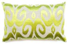 Ikat Chartreuse Lumber Cushion Boyd Blue