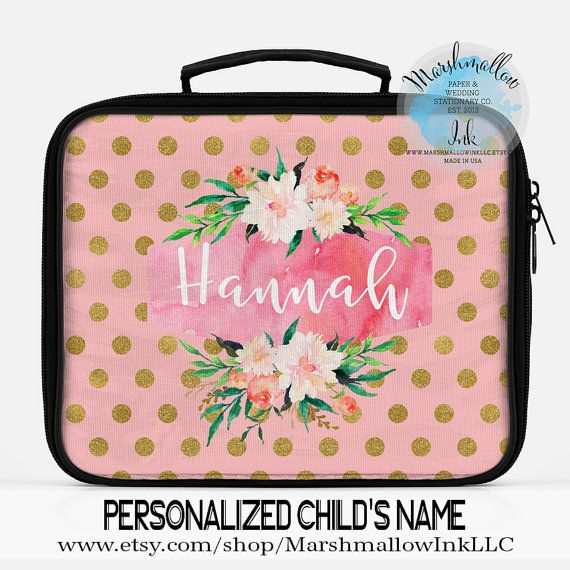 Girl Lunch Bag, Monogram Lunch Bag, Personalized Lunch Bag, Insulated Lunch Bag, Work lunch, School lunch, Custom Lunch Bag, Kids Lunch Bag