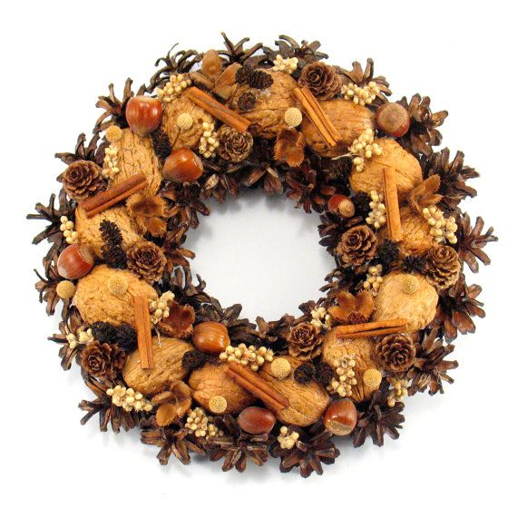 Christmas Wreath Nuts and Pinecone Wreath Winter by ZielonePalce