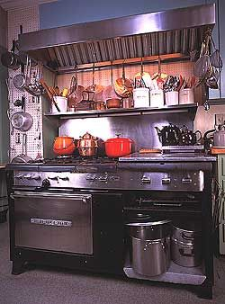 LOVE this stove,  a 1950s Garland commercial stove that Julia Child bought second hand and used in her kitchen from 1961 until 2001.
