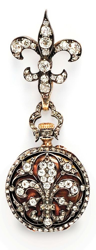 Antique Diamond Open Face Pendant Watch, the case with fleur-de-lis motif set with old European-, old mine-, and rose-cut diamonds, the cuvette with guilloche enamel, stem-wind and pin-set, 24 mm, suspended from a conforming watch pin set with old mine-cut diamonds, each with silver and gold mount, total lg. 2 5/8 in.