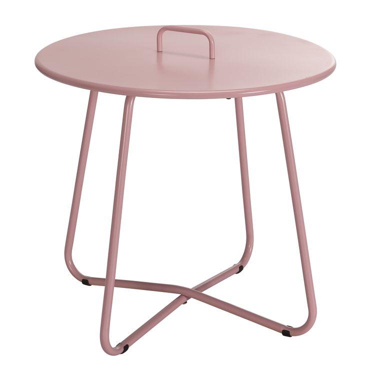 Bijzettafel Murcia met handvat, handig voor het verplaatsen van de tafel. Hoogte: 50 cm. Kleur: roze. #tuin #tuintafel #bijzettafel #KwantumLente #pastel