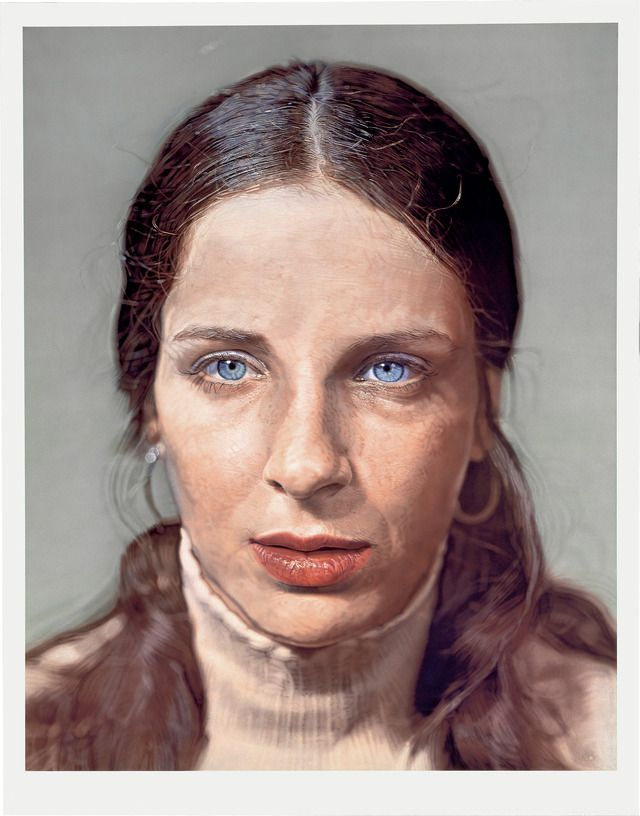 "watercolor on paper on canvas; 72-1/2 x 57"" (184.2 x 144.8 cm);  ; © Chuck Close, courtesy Pace Gallery / Photo by: Ellen Page Wilson, courtesy Pace Gallery"