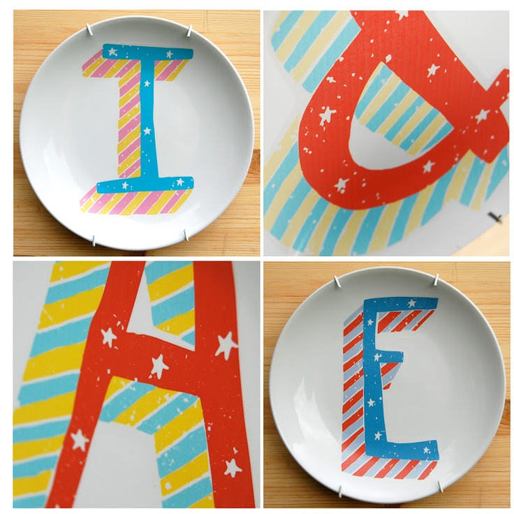 Personalised alphabet plates by www.thelittlepeach.co.uk