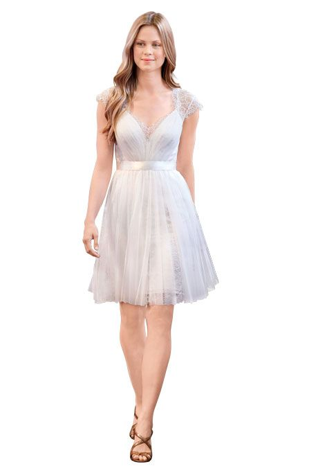 Brides.com: Spring 2014 Wedding Dress Trends. Soft net wedding dress with lace V-neck and ribbon belt, Encore by Watters  See more Watters wedding dresses.