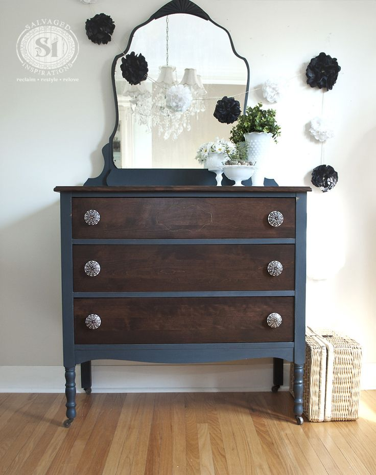 """Bluestone Cottage """"Vintage Velvet"""" Chalky Patina Paint. Top and drawers stained with General Finishes Java Gel."""