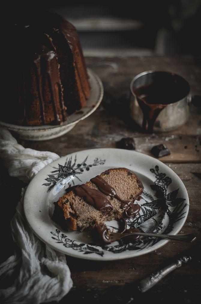 Chesnut bundt cake with cocoa nibs and ganache
