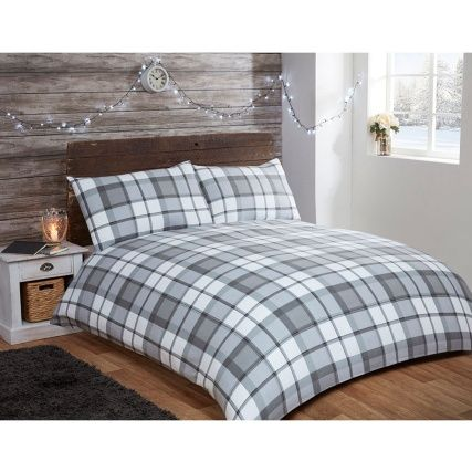 Brushed Cotton Check Double Duvet Set - one duvet and two pillowcases - available in Red & Navy, Natural or Mono