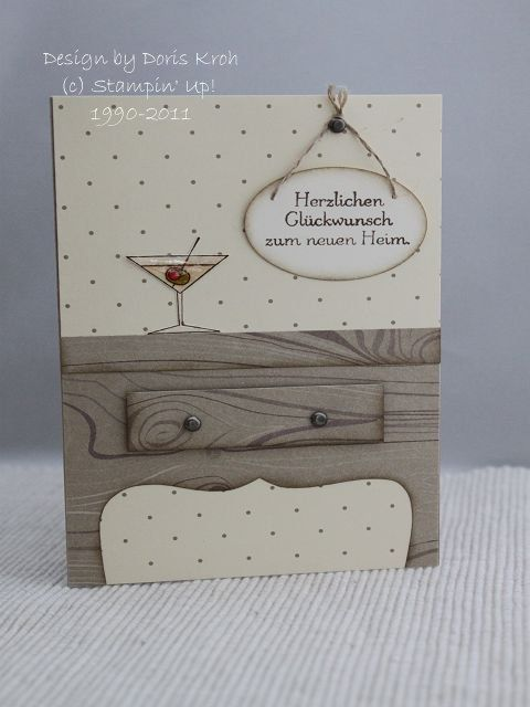 "Cheers to you card by Doris.... table legs made with SU's ""Top Note"".... (aka the end of a label image)"