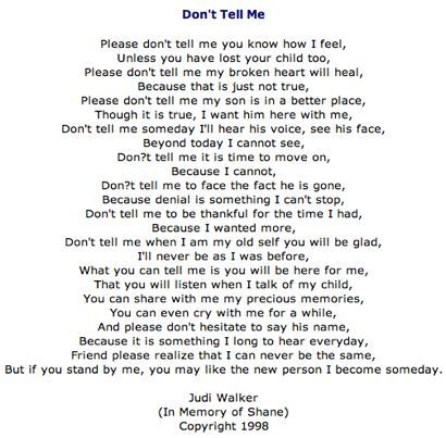 inspirational poems about death of a child | ... Poem above about losing a child. Click on the link below to listen