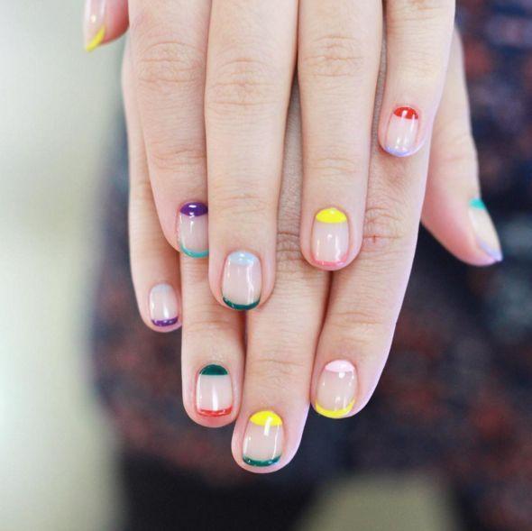 Block coloured and natural nail art