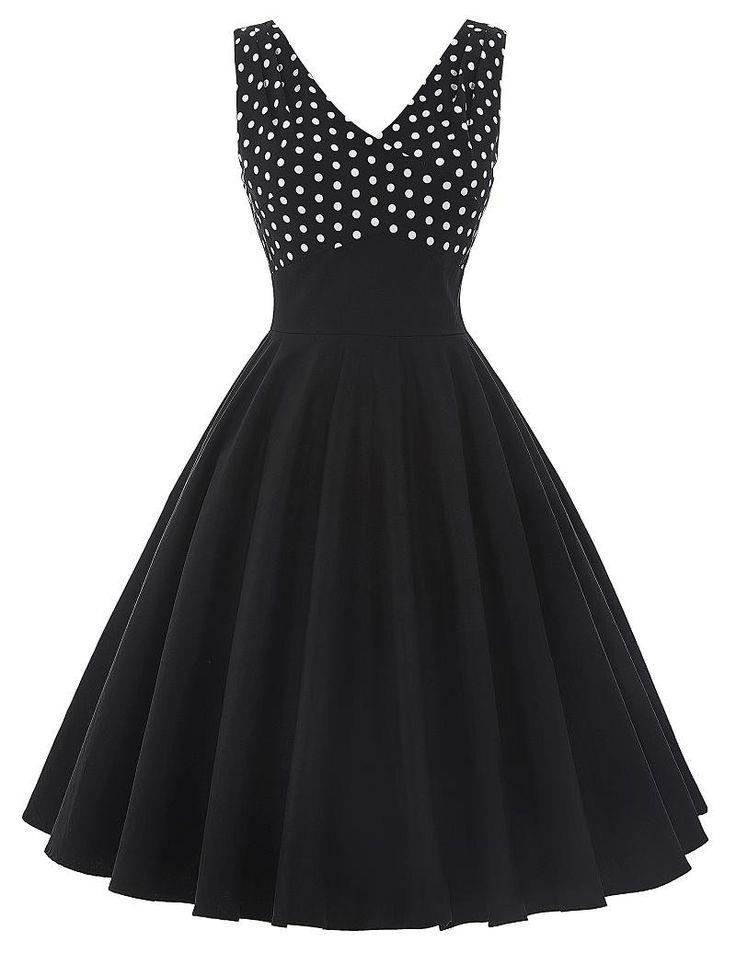 Summer Dress Women 2016 Pinup Swing Clothing Vestidos Polka Dot Casual Sexy Robe Rockabilly 50s Vintage Black Womens Dresses
