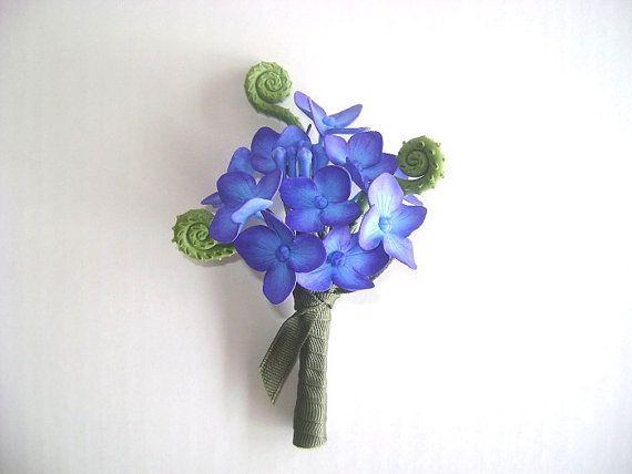 Hortensia Boutonniere padrinos de boda flor púrpura azul Bestman flor hecha por encargo de la boda