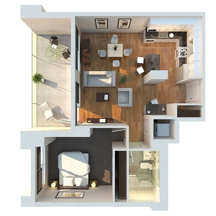 25 best 3D Floor Plan images on Pinterest Small apartments