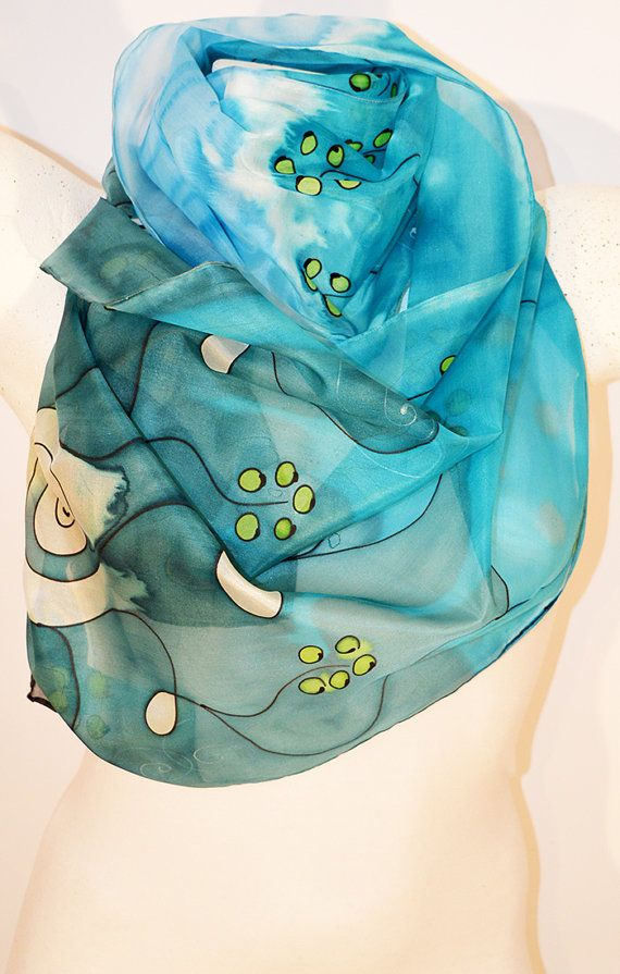 Silk Scarf Handmade Unique Silk Accessories Gift Idea By