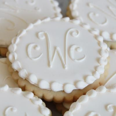 Love this Ivory Monogram Cookie Favors by #whippedbakeshop for $4.50 each http://www.whippedbakeshop.com
