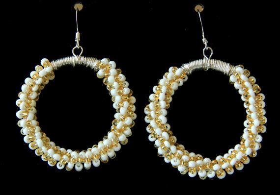 White Hoop Earrings Spring/Summer Earrings, Casual Earrings #Beaded #Handmade Earrings on ShopJuelerie